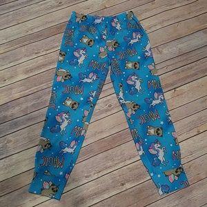 Girl's Pug/Unicorn PJ Pants - Size 10